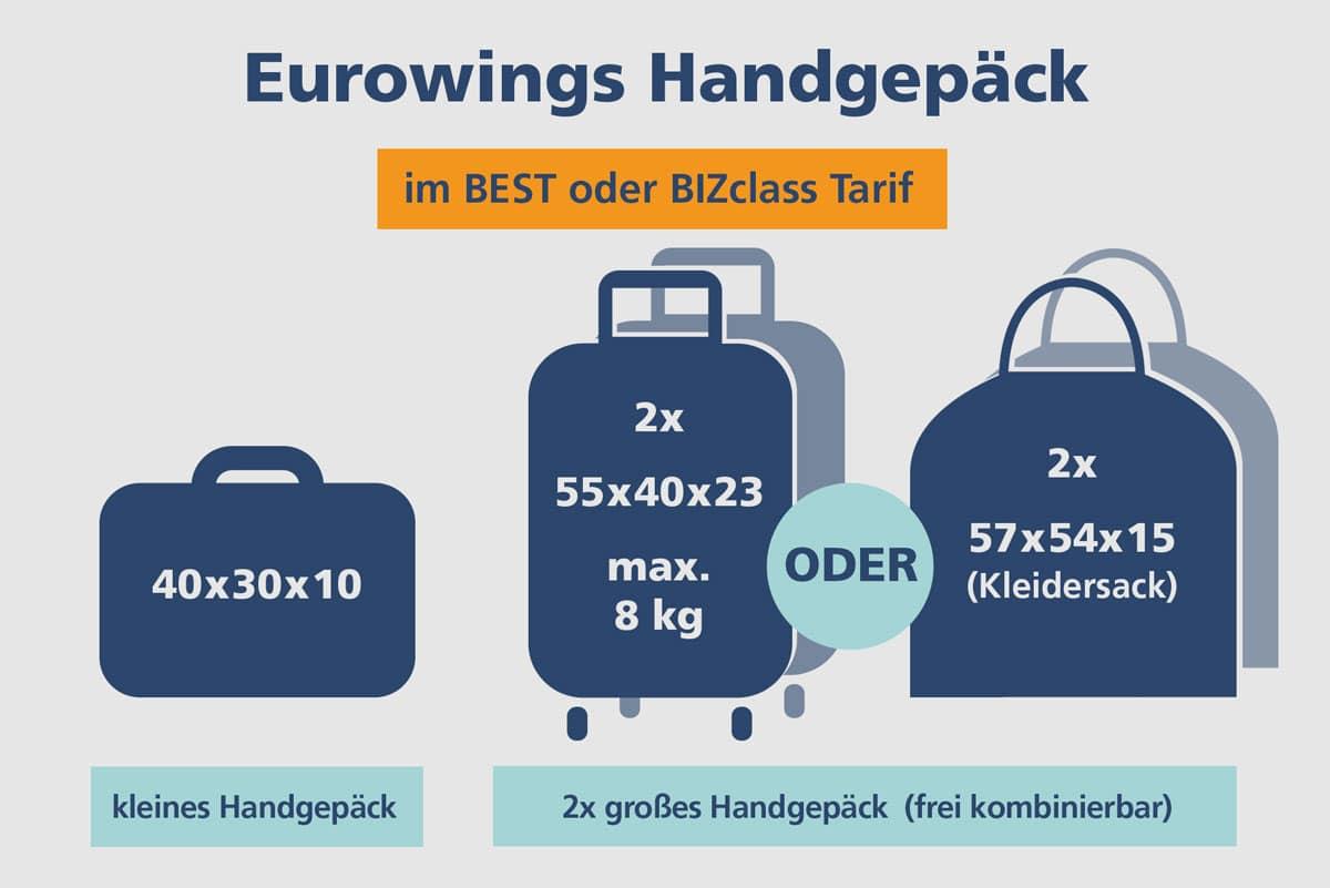 Eurowings Handgepäck BEST / BIZclass Tarif