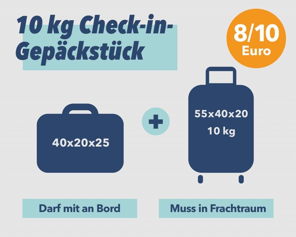 10kg Check-in Gepäckstück