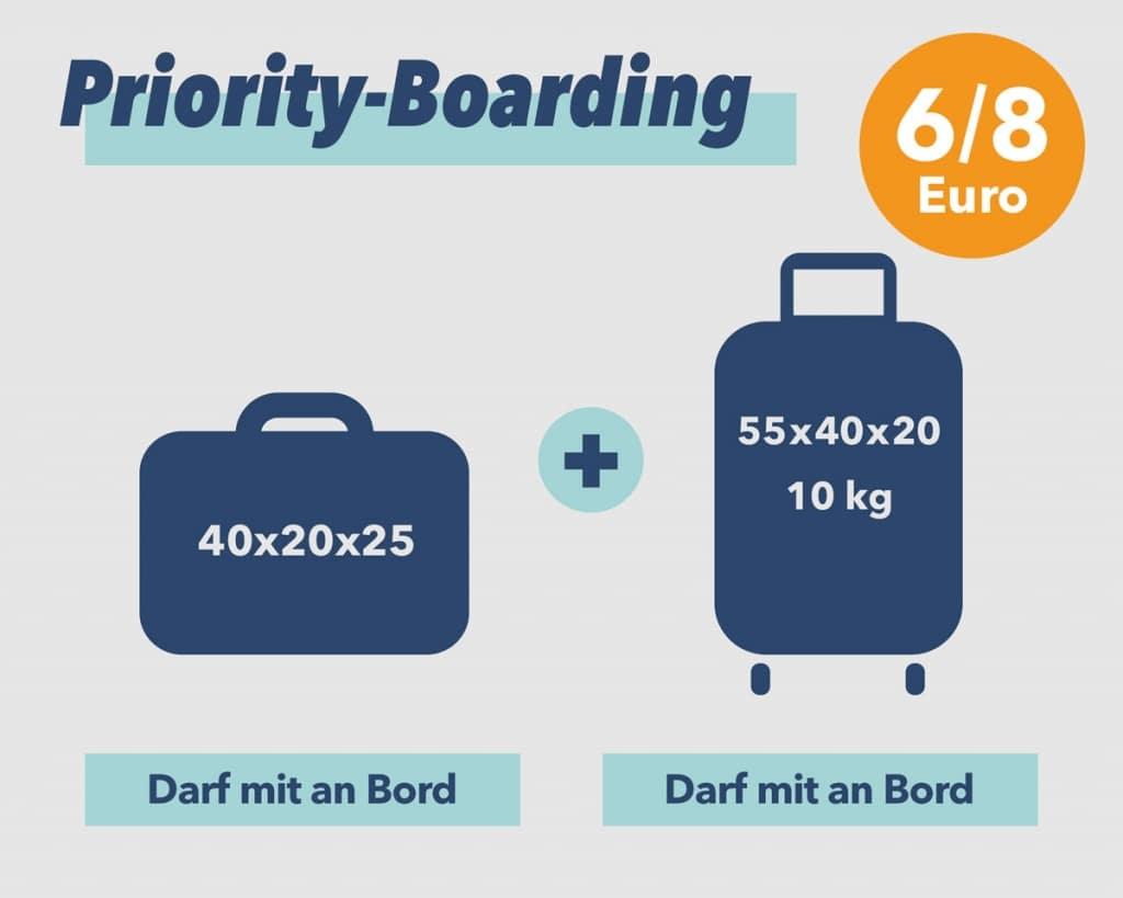 Priority und 2 Handgepäckstücke