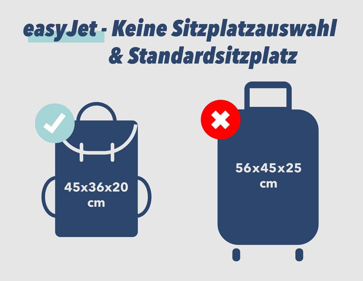 easyJet Handgepäck Standardsitzplatz