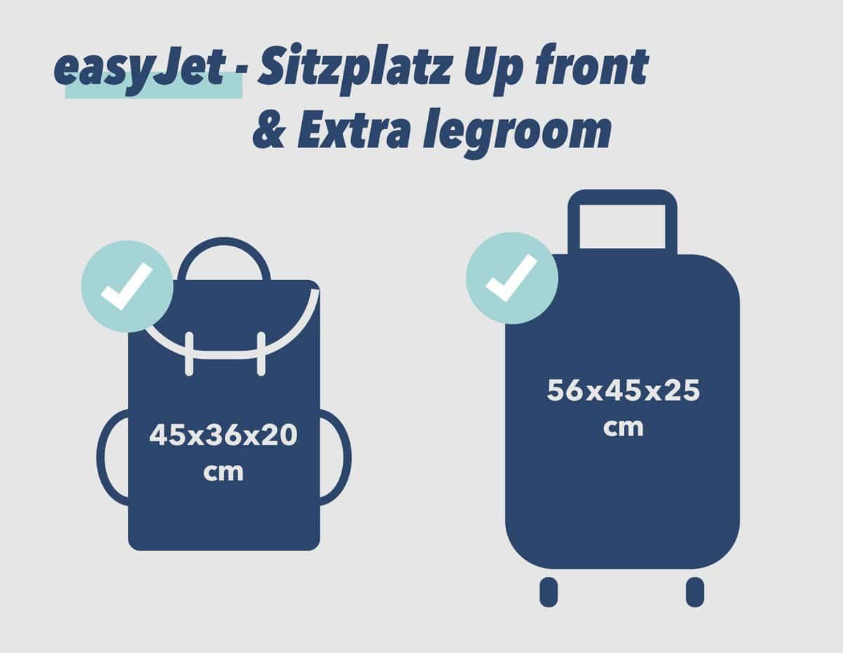 easyJet Handgepäck Up front & Extra legroom