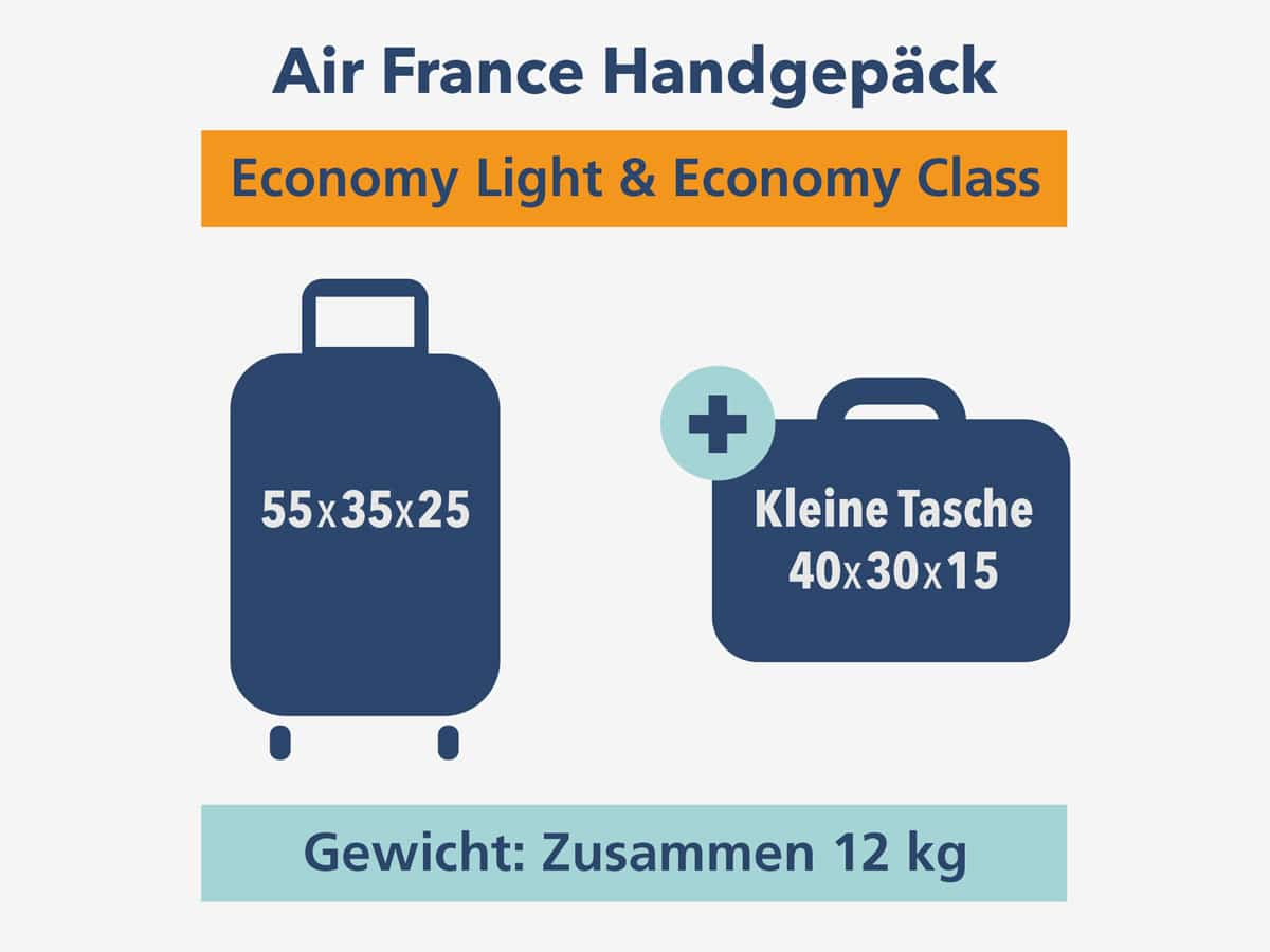 Air France Handgepäck Economy Light und Economy Class